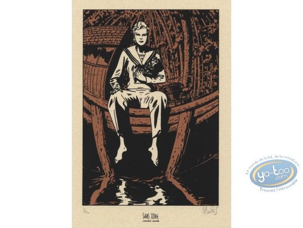 Bookplate Serigraph, Révoltés (Les) : Woman on Boat
