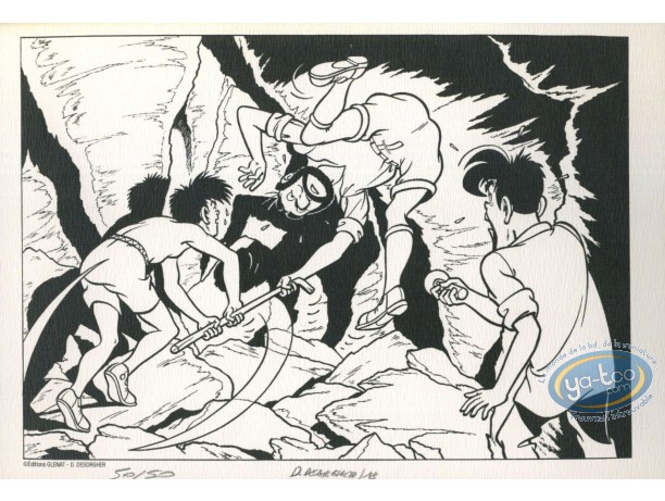 Bookplate Offset, Jimmy Tousseul : Fight in the Cave (b&w)