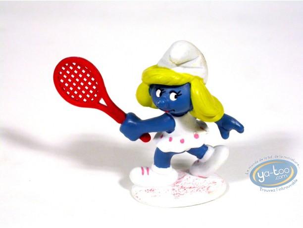 Plastic Figurine, Smurfs (The) : Tennis Smurfette , Made in China 1981