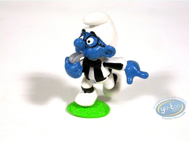 Plastic Figurine, Smurfs (The) : Brainy referee Smurf (little base)