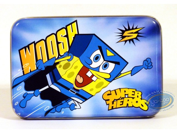 Box, Sponge Bob : Rectangular metal box : SpongeBob 'Super Hero'.