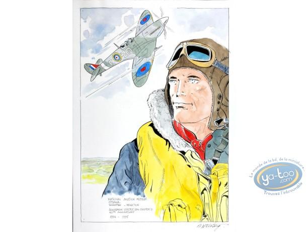 Aquarelle, Dan Cooper : Portrait with Plane
