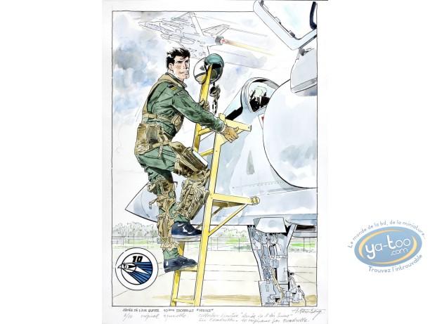 Aquarelle, Dan Cooper : Dan Cooper Descending from his Plane