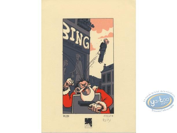 Bookplate Serigraph, Ludo : Santa Claus