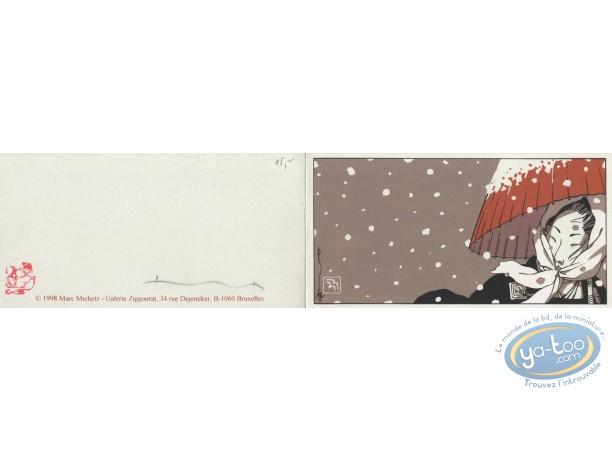 Bookplate Serigraph, Kogaratsu : Woman under the snow