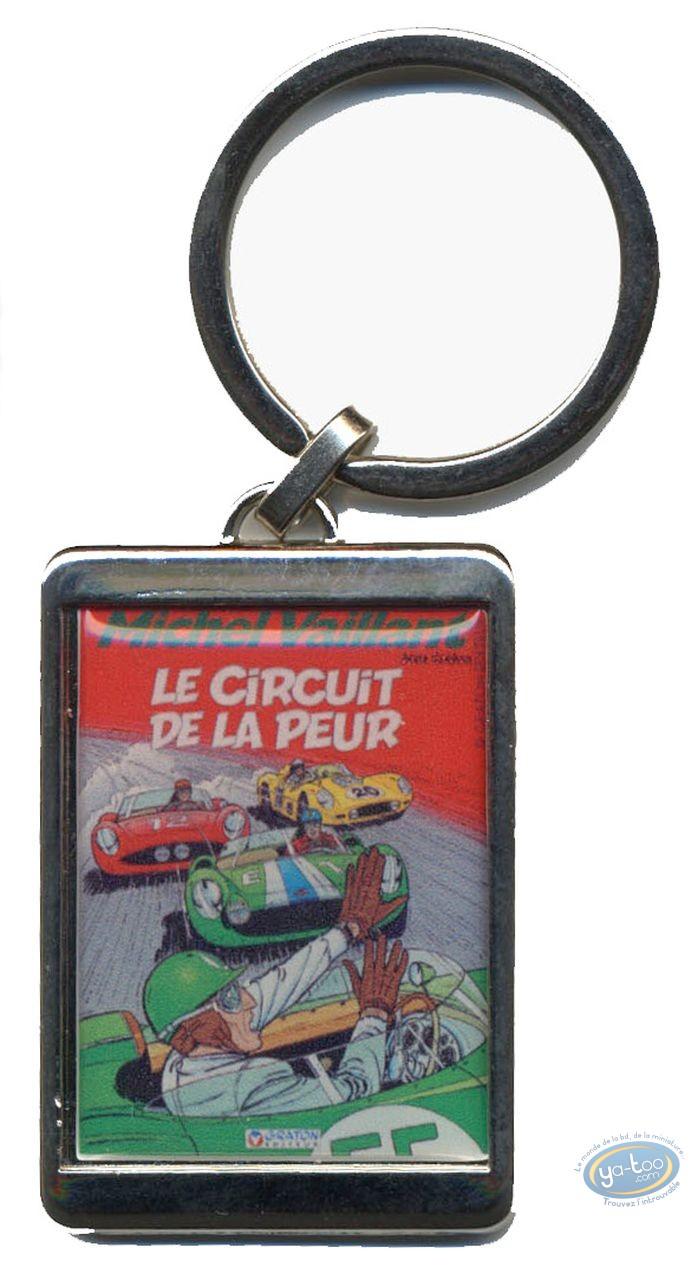 Keyring, Michel Vaillant : Silvered key ring : 'Le circuitde la peur'