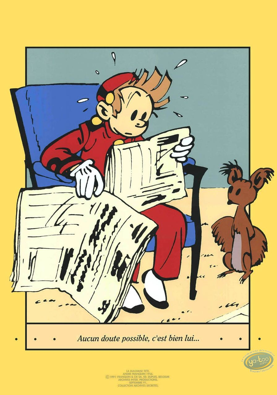 Serigraph Print, Spirou and Fantasio : Spirou reading the newspaper