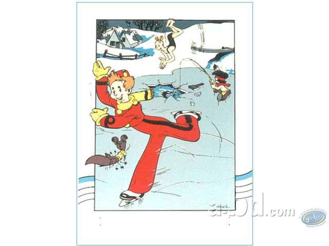Serigraph Print, Spirou and Fantasio : Spirou ice skater