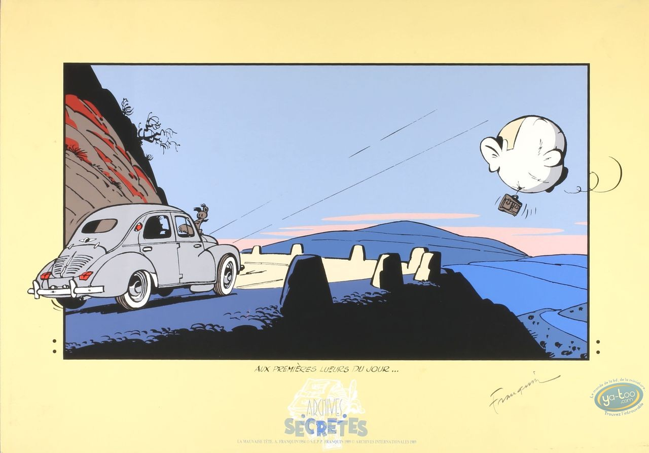 Serigraph Print, Spirou and Fantasio : The Wrong Head (good condition / signed)