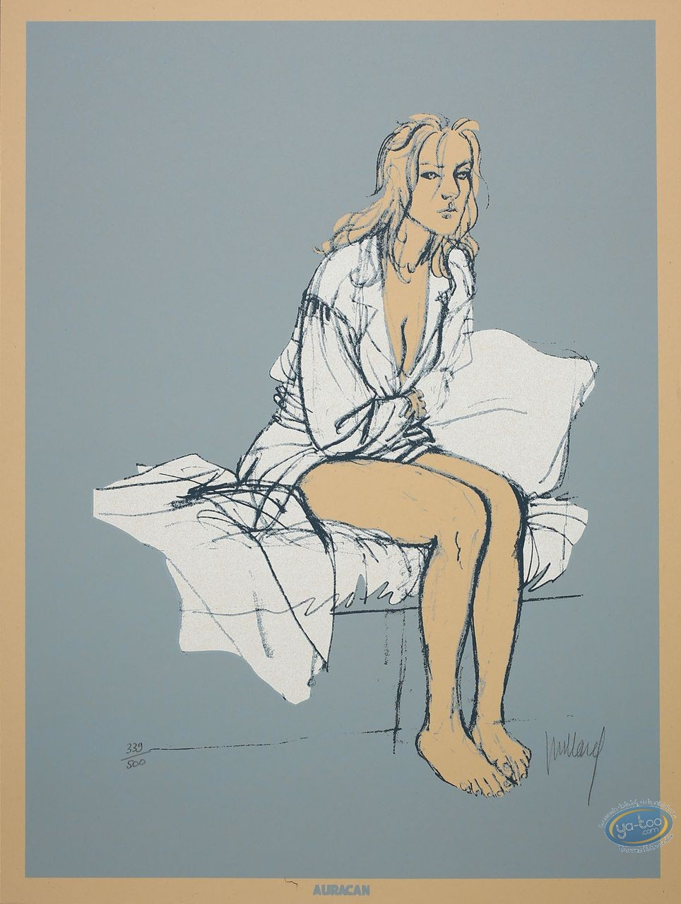 Serigraph Print, Plume aux Vents : Ariane sitting on a bed