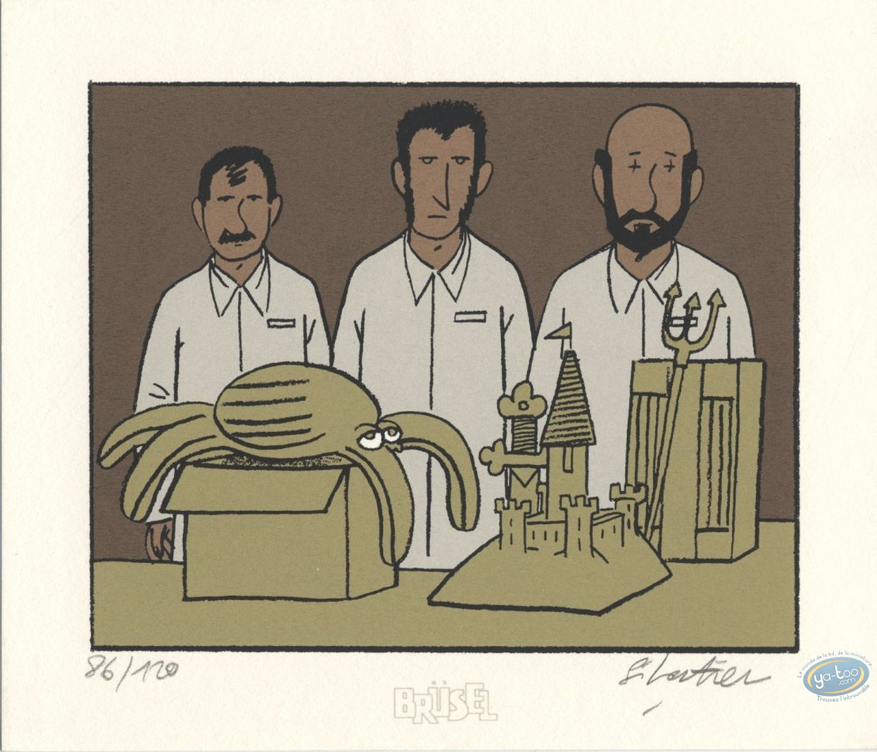 Bookplate Serigraph, Mes Voisins sont Formidables : Trio & Octopus