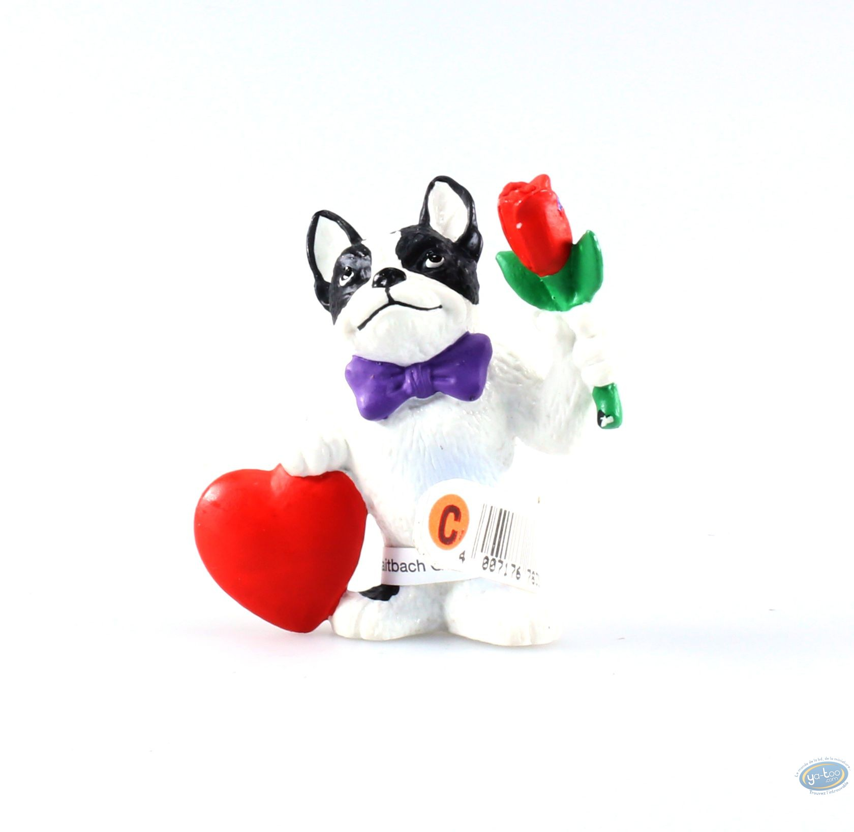 buy online plastic figurine animaux les bulldog with heart and flowers. Black Bedroom Furniture Sets. Home Design Ideas