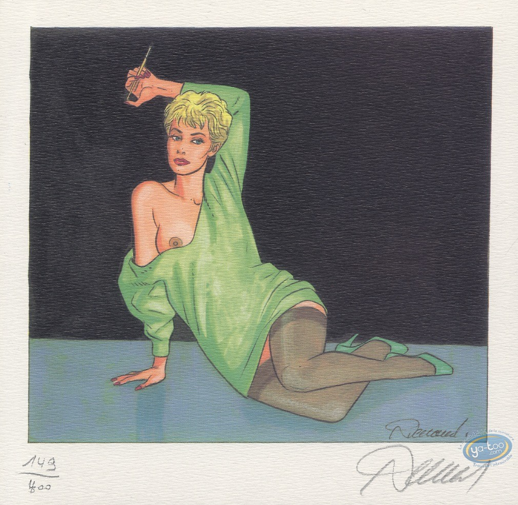 Bookplate Offset, Jessica Blandy : Green dress, sitting with a cigarette holder