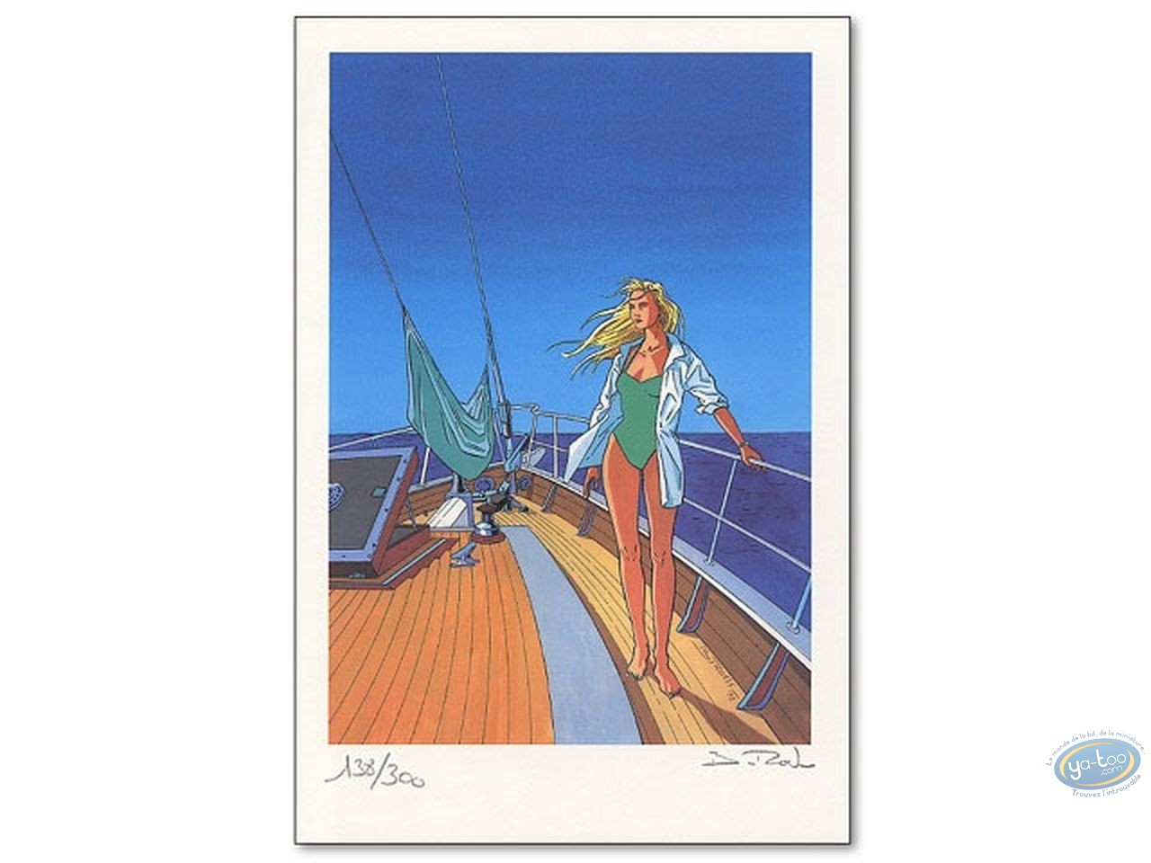 Bookplate Offset, Bleu Lézard : Helen on a Boat