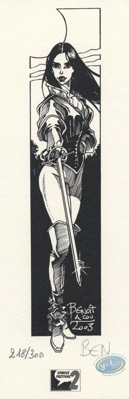Bookplate Offset, Hauteclaire : Woman & sword