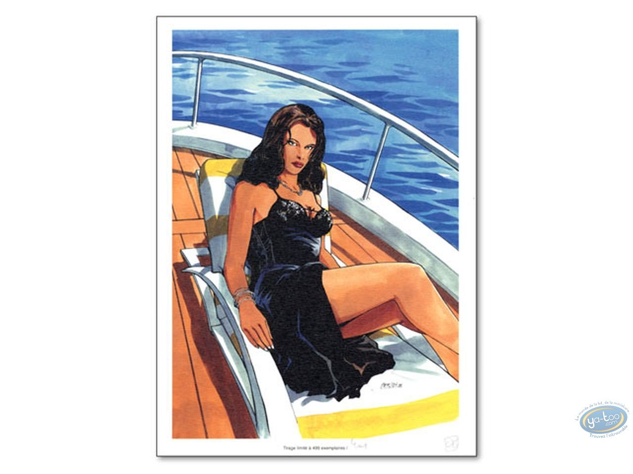 Bookplate Offset, Tony Corso : Woman on Boat