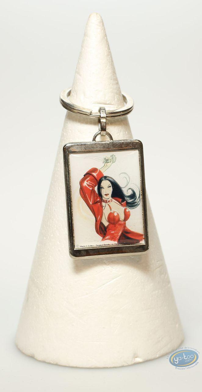 Keyring, Rapaces : Metal keyring, Camilla on white background