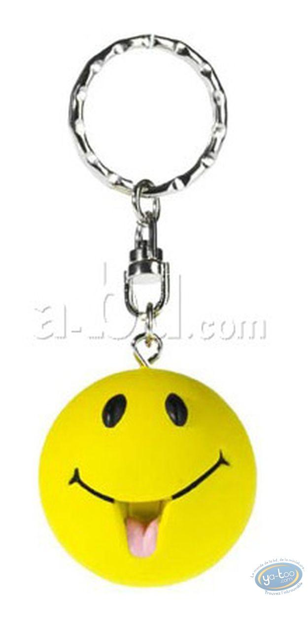 Plastic Figurine, Smiley : Key ring, Smiley tongue