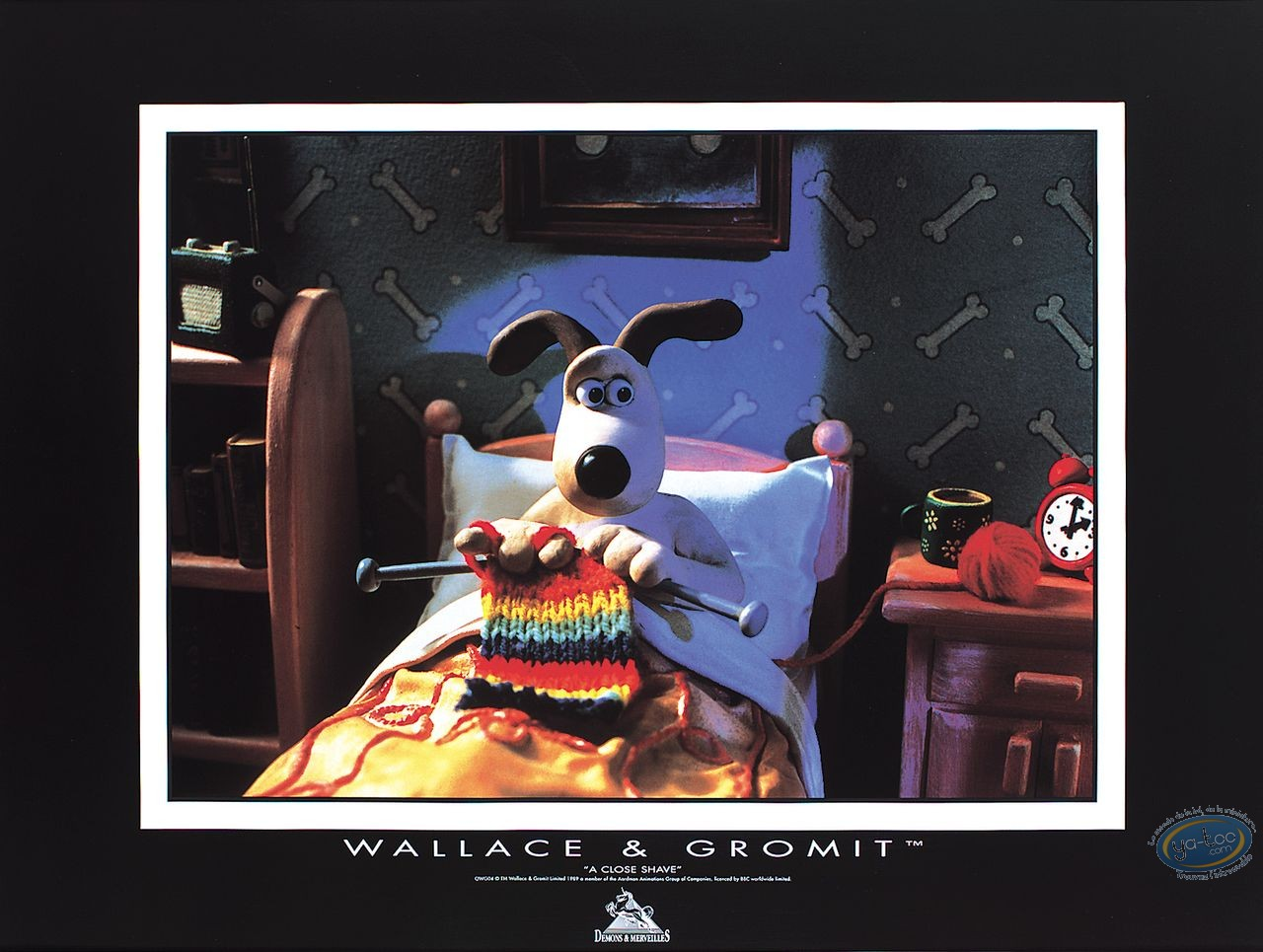 Offset Print, Wallace and Gromit : Gromit knitting in bed