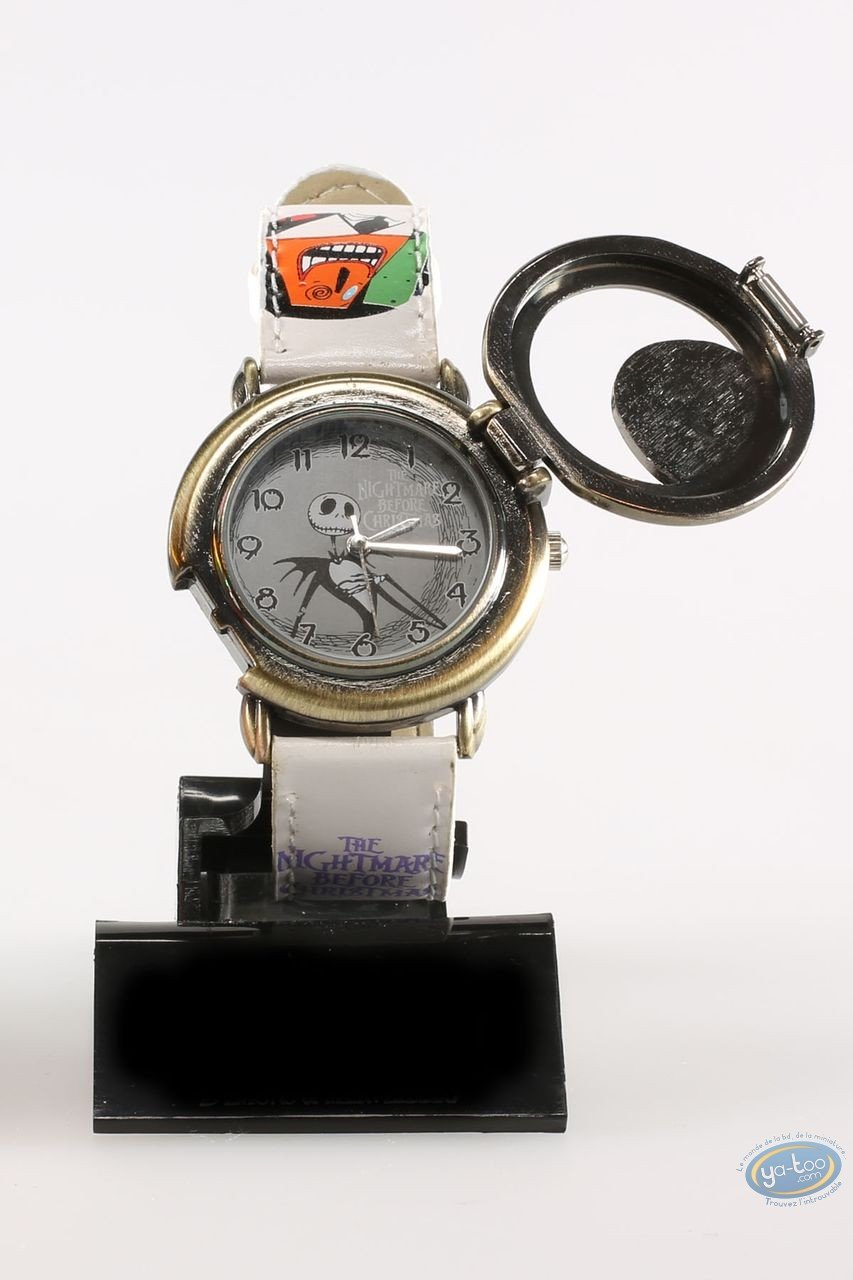 Clocks & Watches, Etrange Noël de Mr. Jack (L') : Watch, The Nightmare before Christmas Mr Jack: character - white leather strap