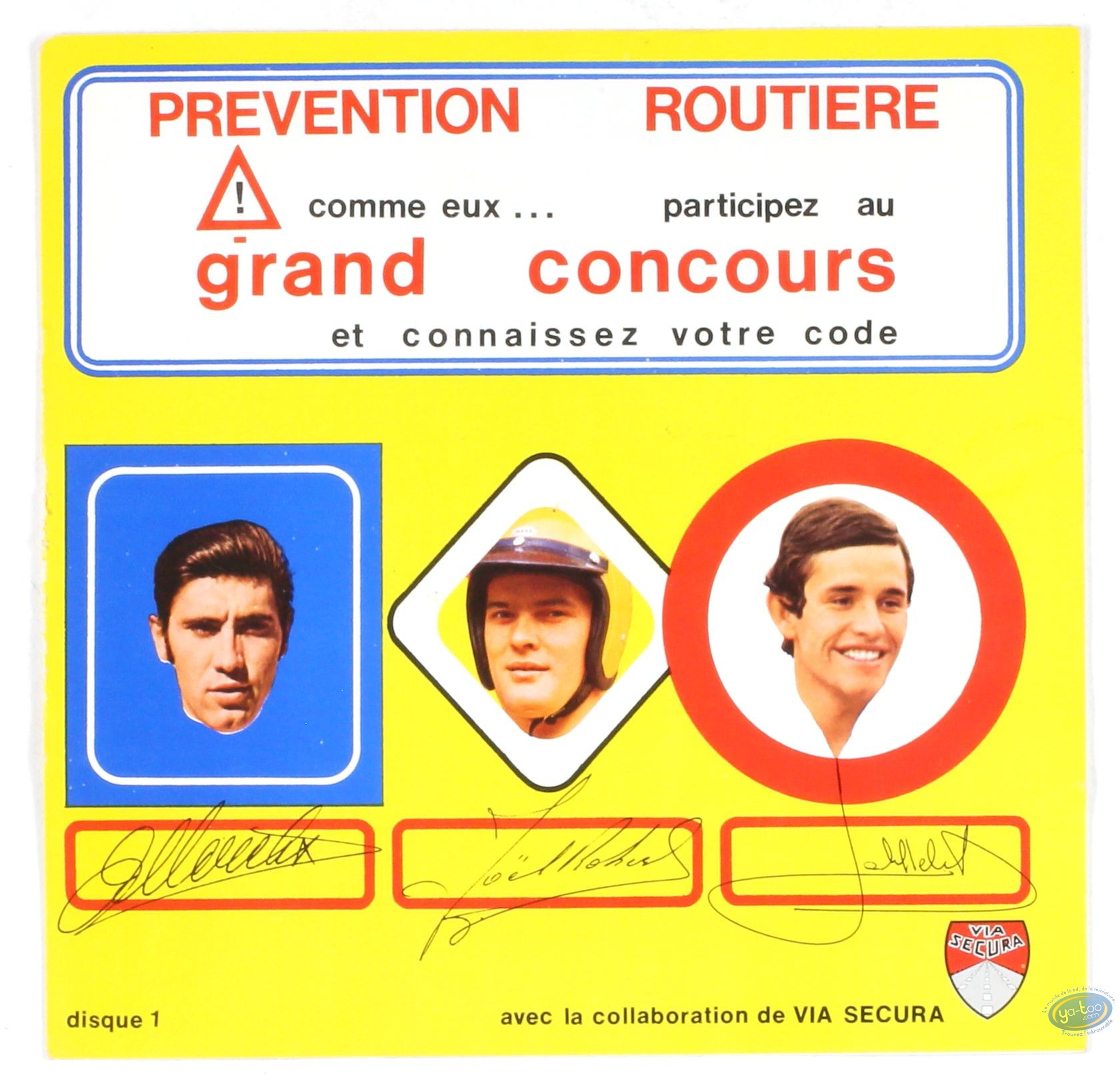 Advertising object, Michel Vaillant : Disk competition Road accident prevention Michel Vaillant / Eddy Merckx, Jacky Ickx and Joël Robert
