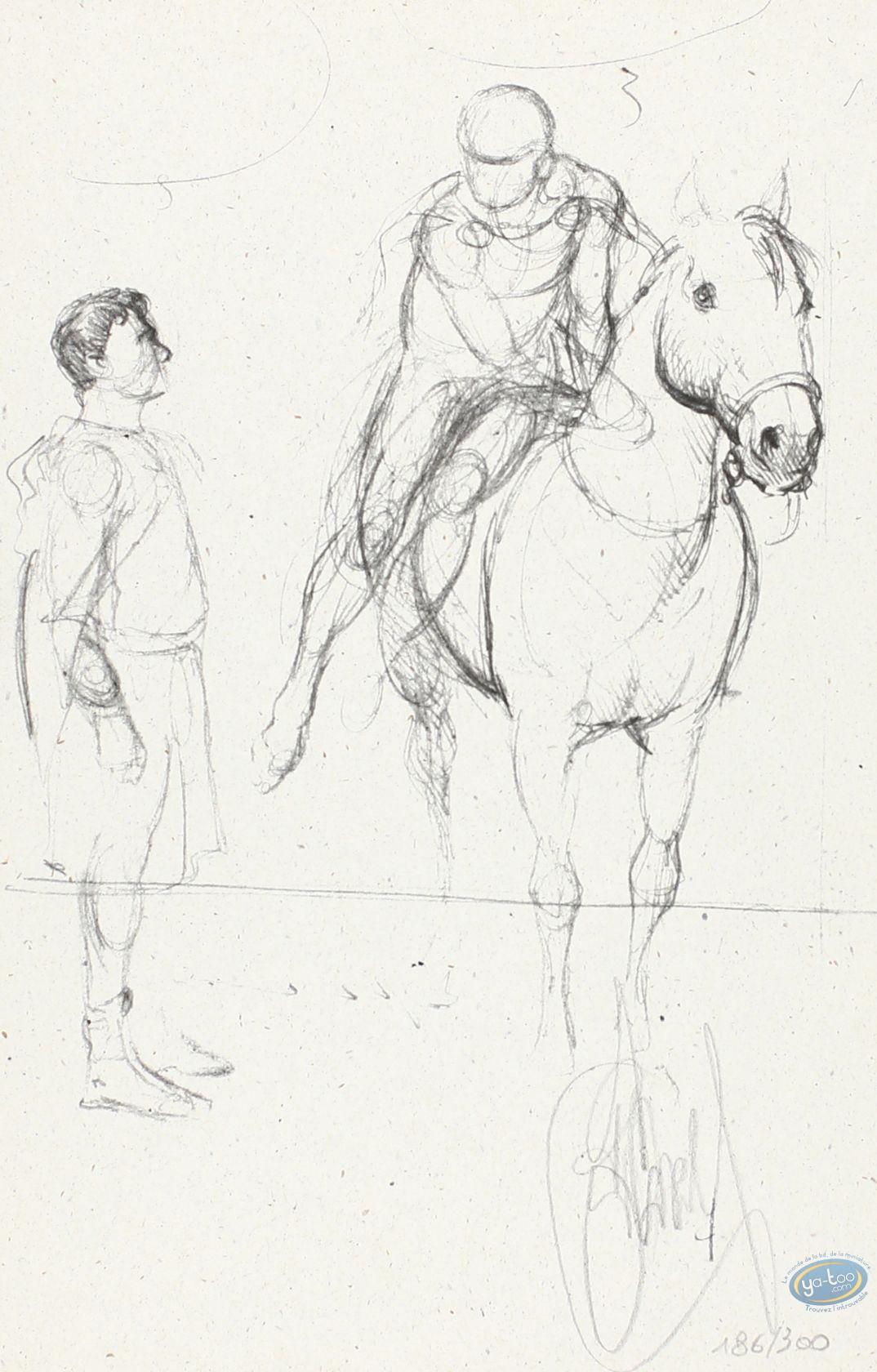 Bookplate Offset, Murena : Murena sketch : Man and Horseman