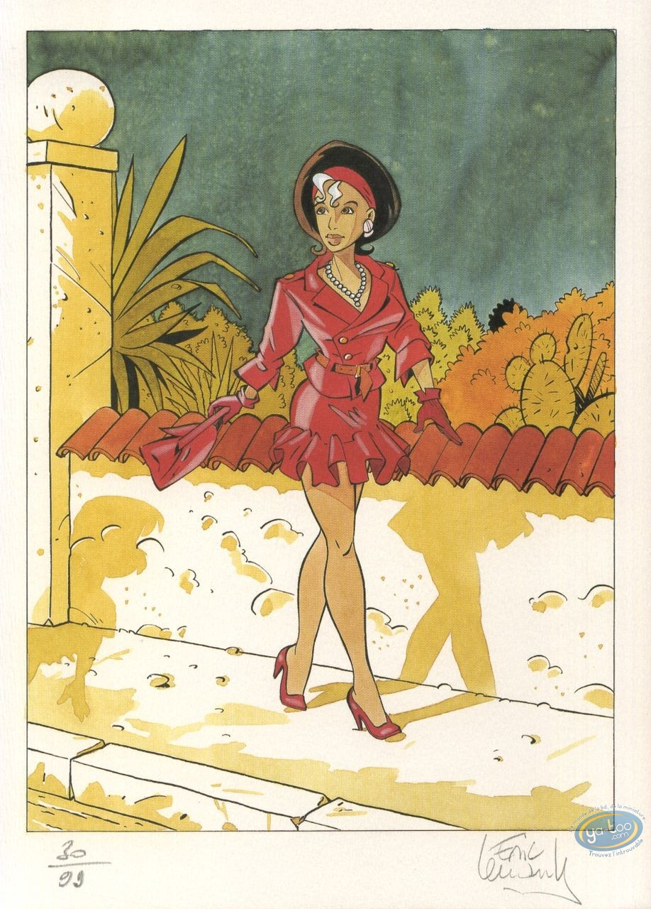 Bookplate Offset, Fugitive (La) : Woman with a red dress