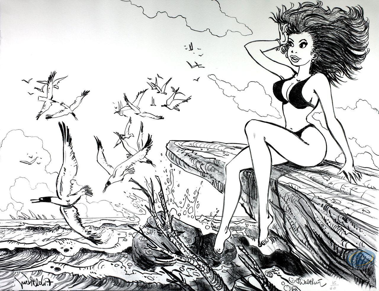 Lithography, Natacha : Natacha at the Sea with Seagulls