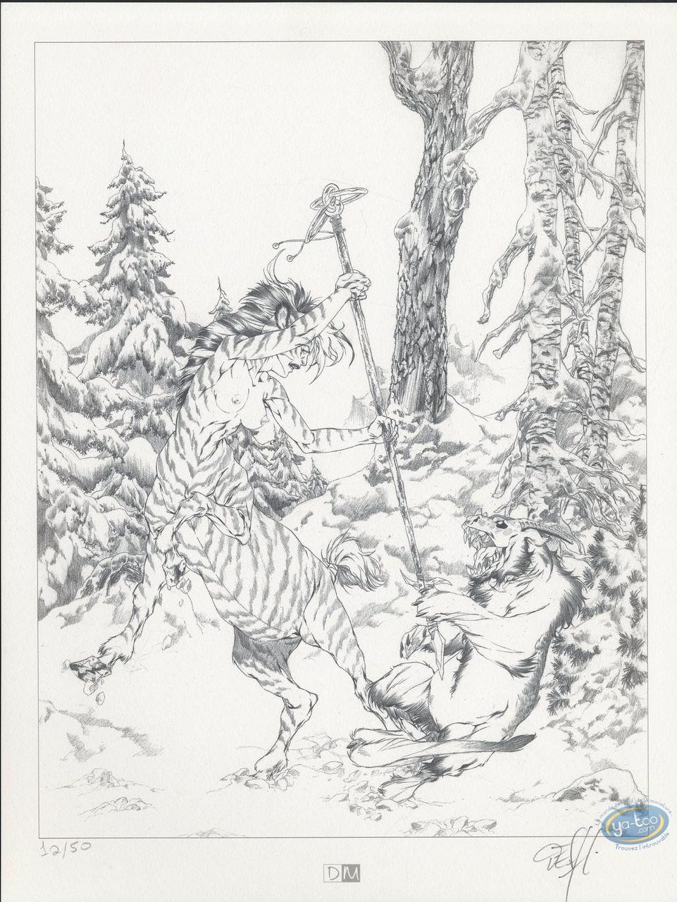 Bookplate Offset, Garous : Female Centaur