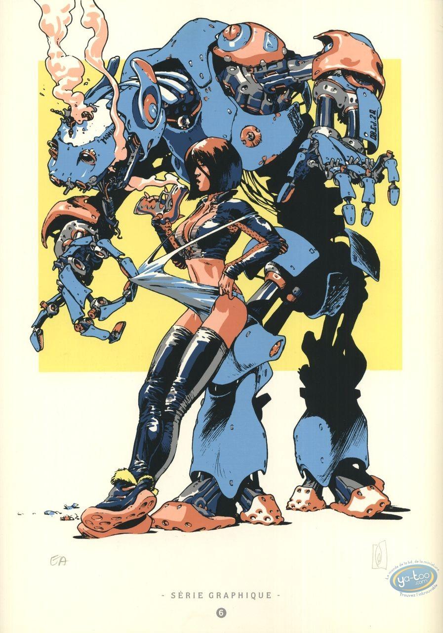 Bookplate Serigraph, Carmen Mc Callum : Too Curious Robot