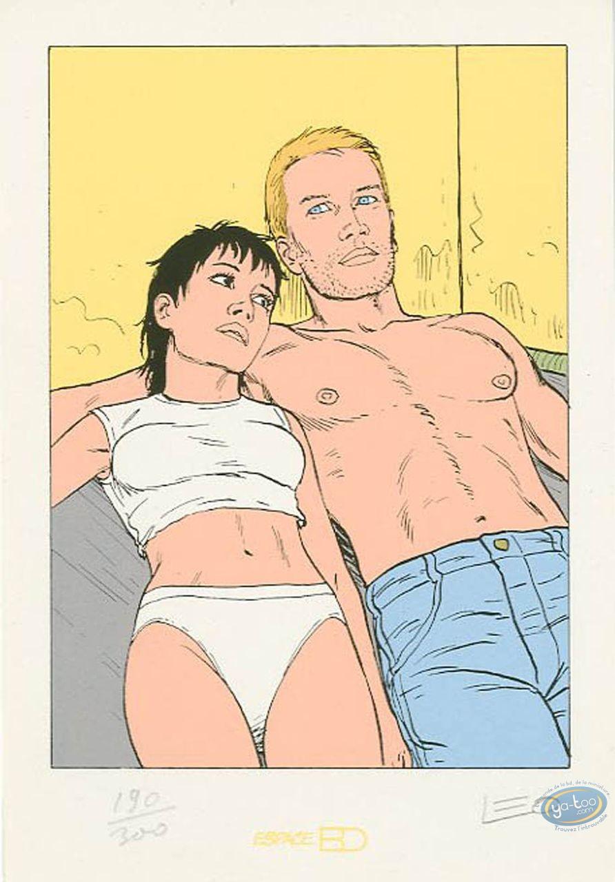 Bookplate Serigraph, Aldebaran : Kim & Marc in a bed