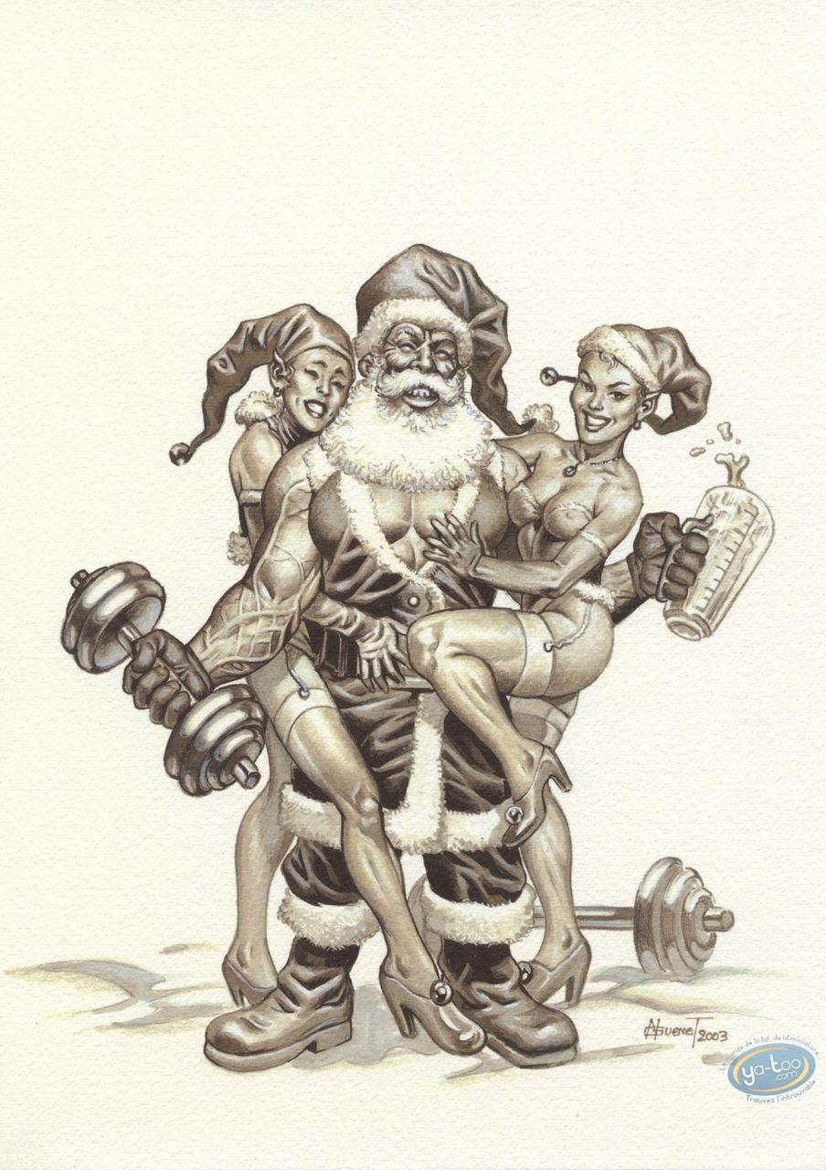 Bookplate Offset, Noël : Strong Santa Claus b&w