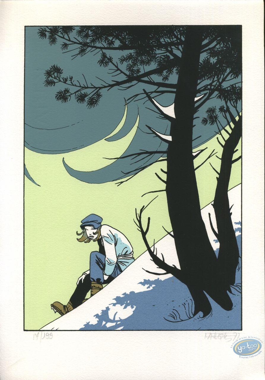 Bookplate Serigraph, Fond du Monde (Le) : Sitting in the snow