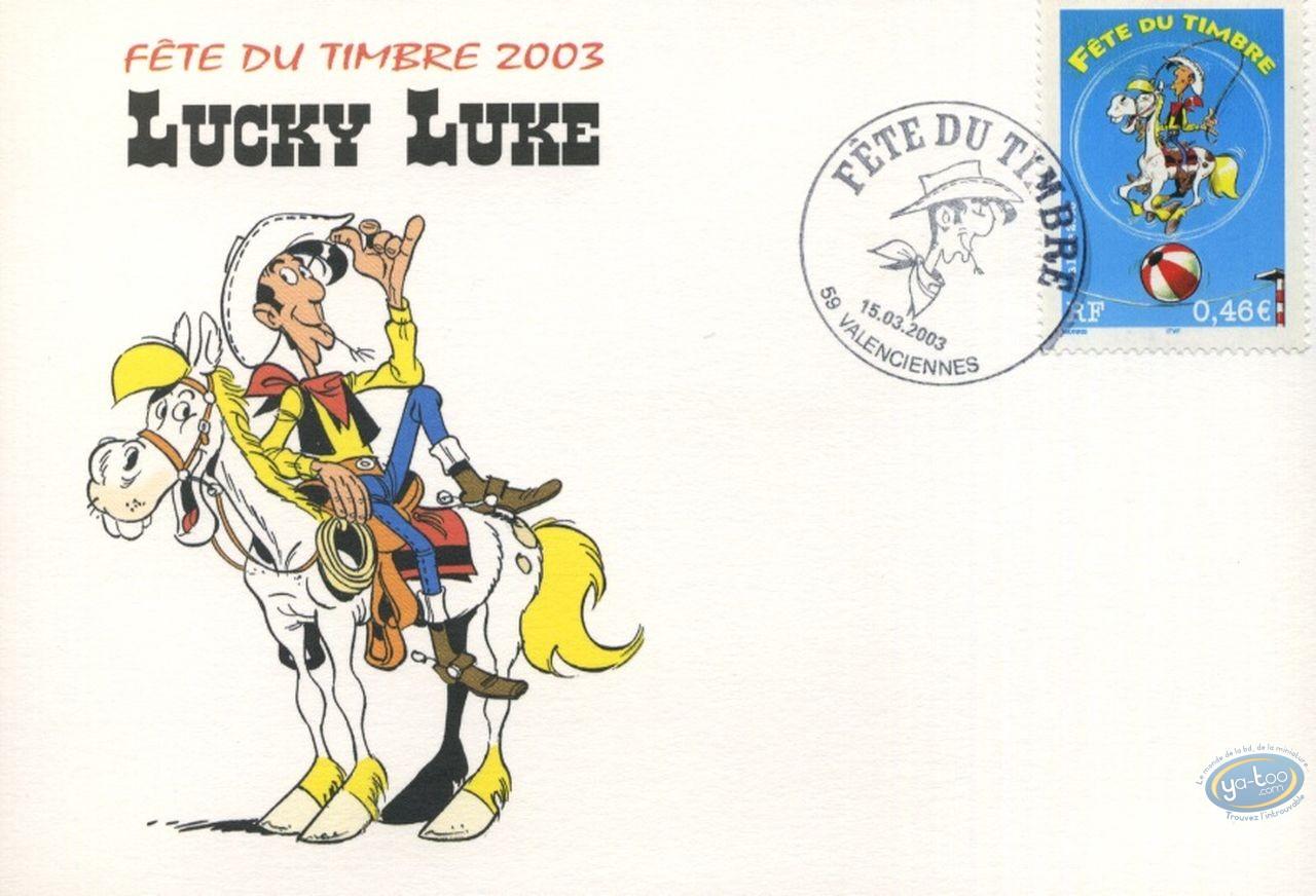 Stamp, Lucky Luke : postcard 1st day circus