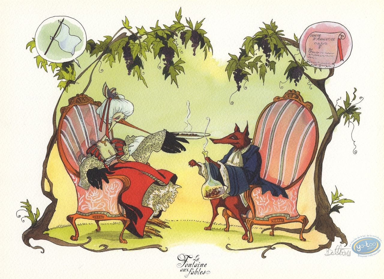 Bookplate Offset, Fontaine aux Fables (La) : The Fox and the Stork