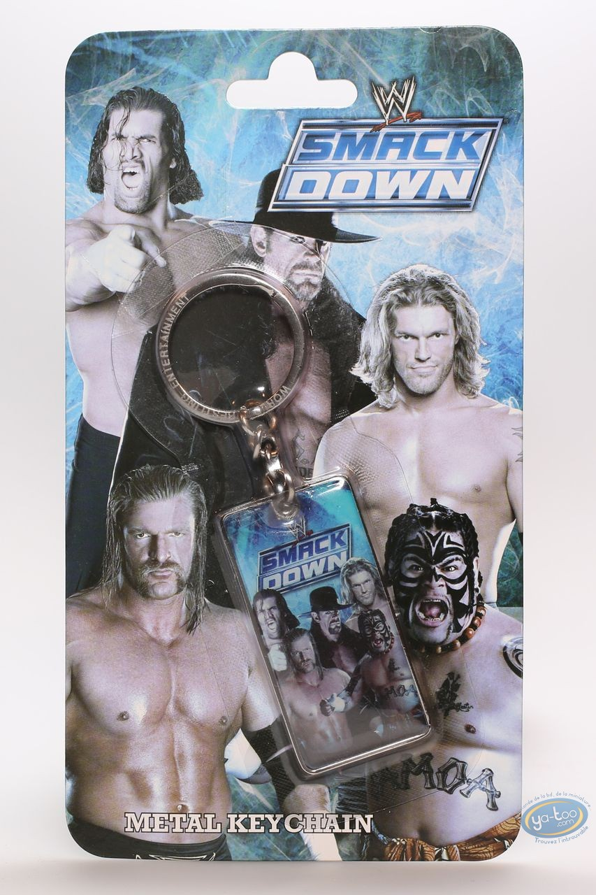 Keyring, World Wrestling Entertainment : Metal keychain, The Stars of Wrestling:  Edge, Undertaker, Triple H, Joheena, Mysterio