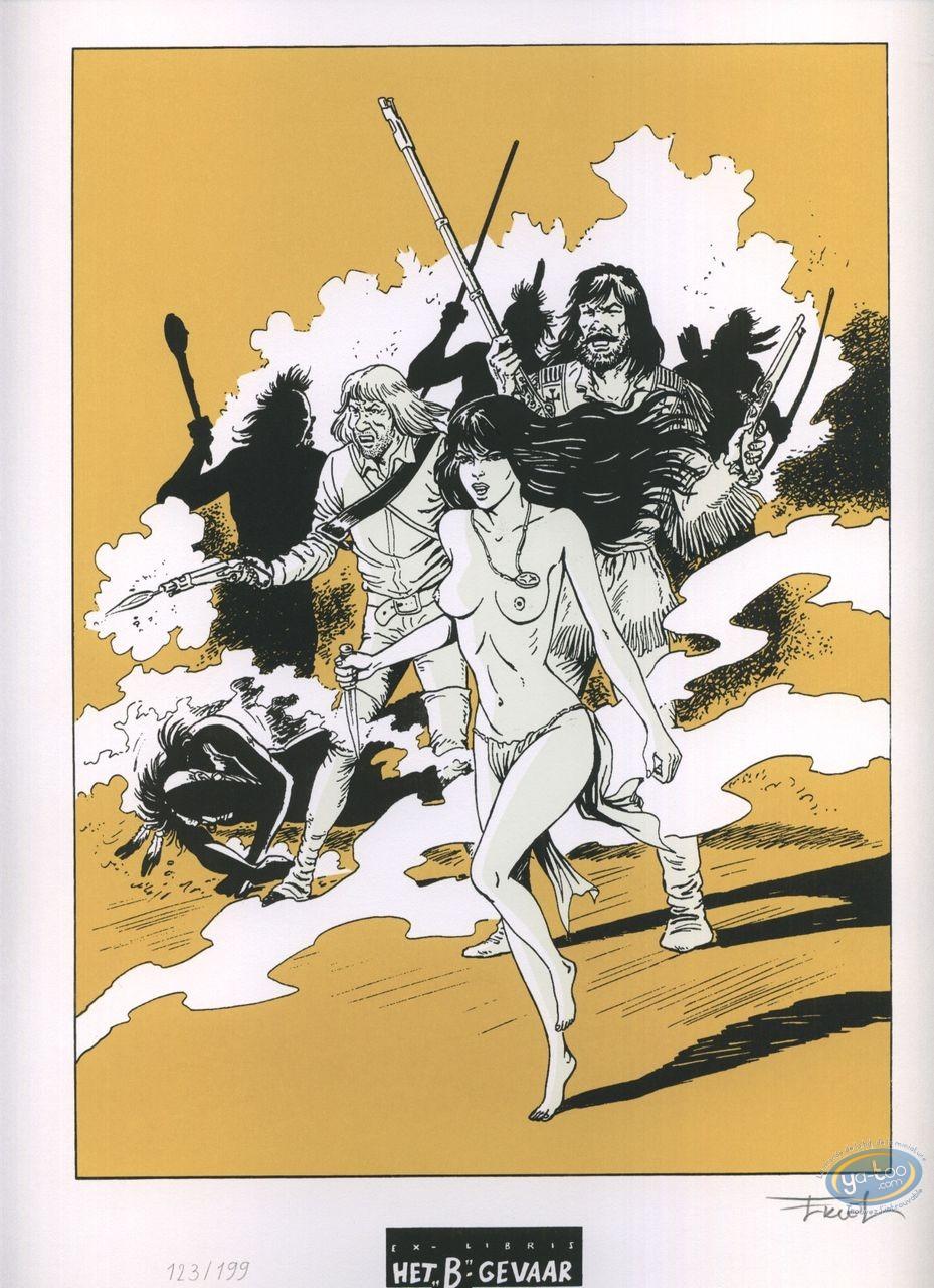 Bookplate Serigraph, Pionniers du Nouveau Monde (Les) : Battle