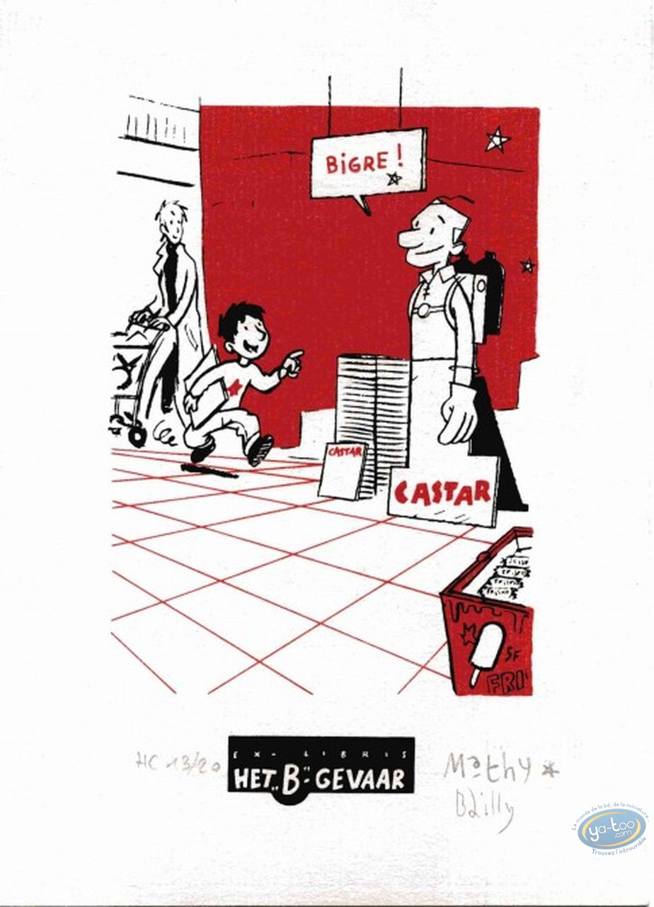 Bookplate Serigraph, Ludo : At the supermarket