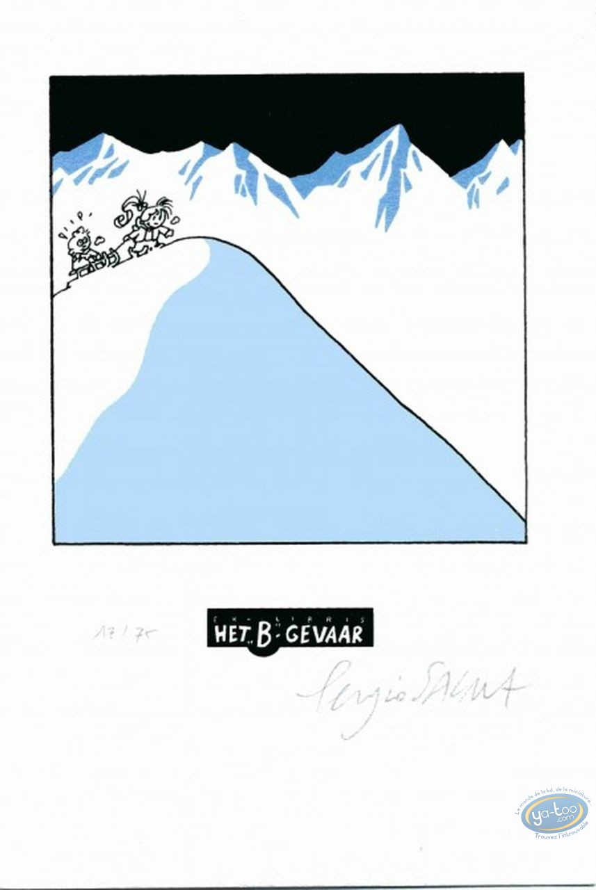 Bookplate Serigraph, Nathalie : The Sledge