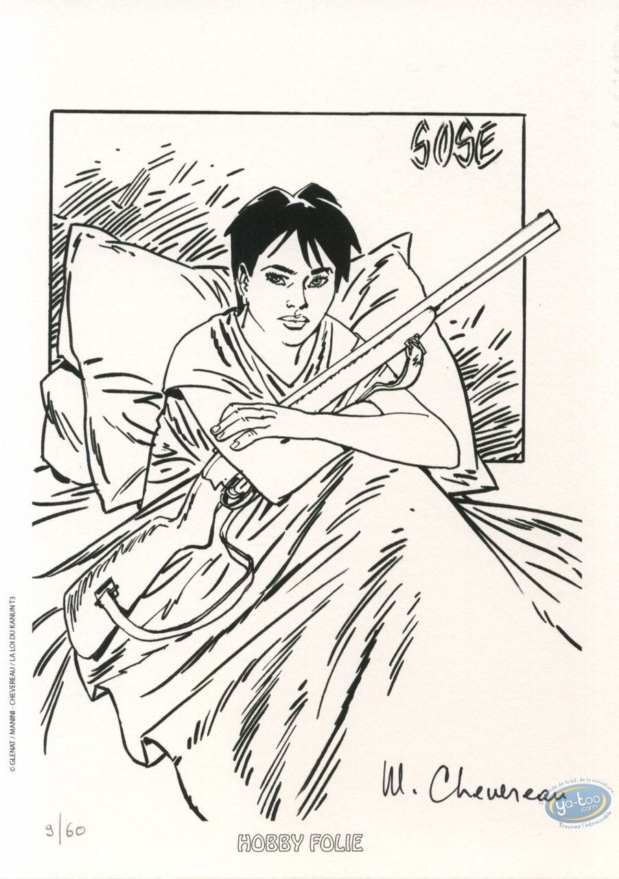 Bookplate Offset, Loi du Kanun (La) : Woman sitting in a bed with a rifle