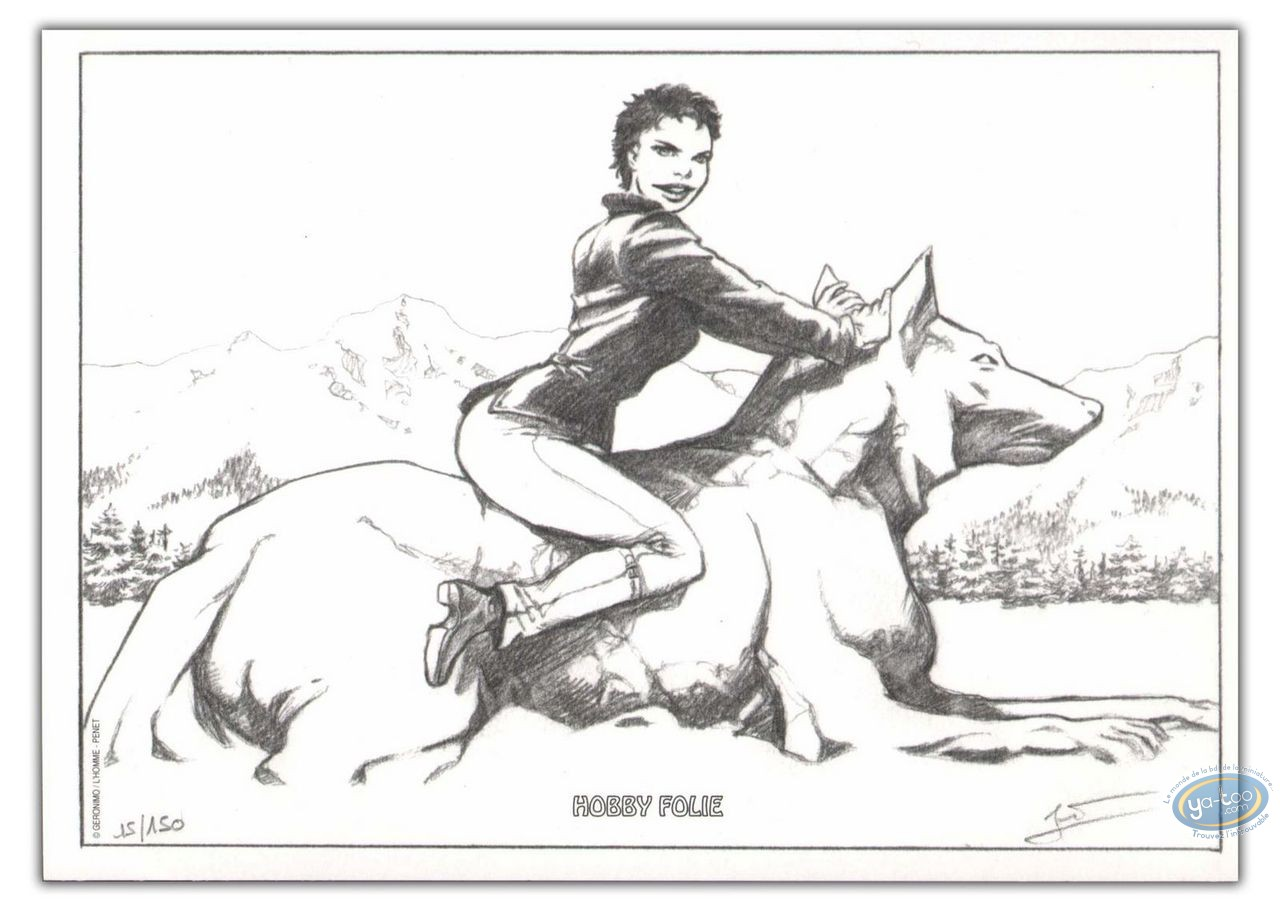 Bookplate Offset, Marie des Loups : Marie sitting on a wolf