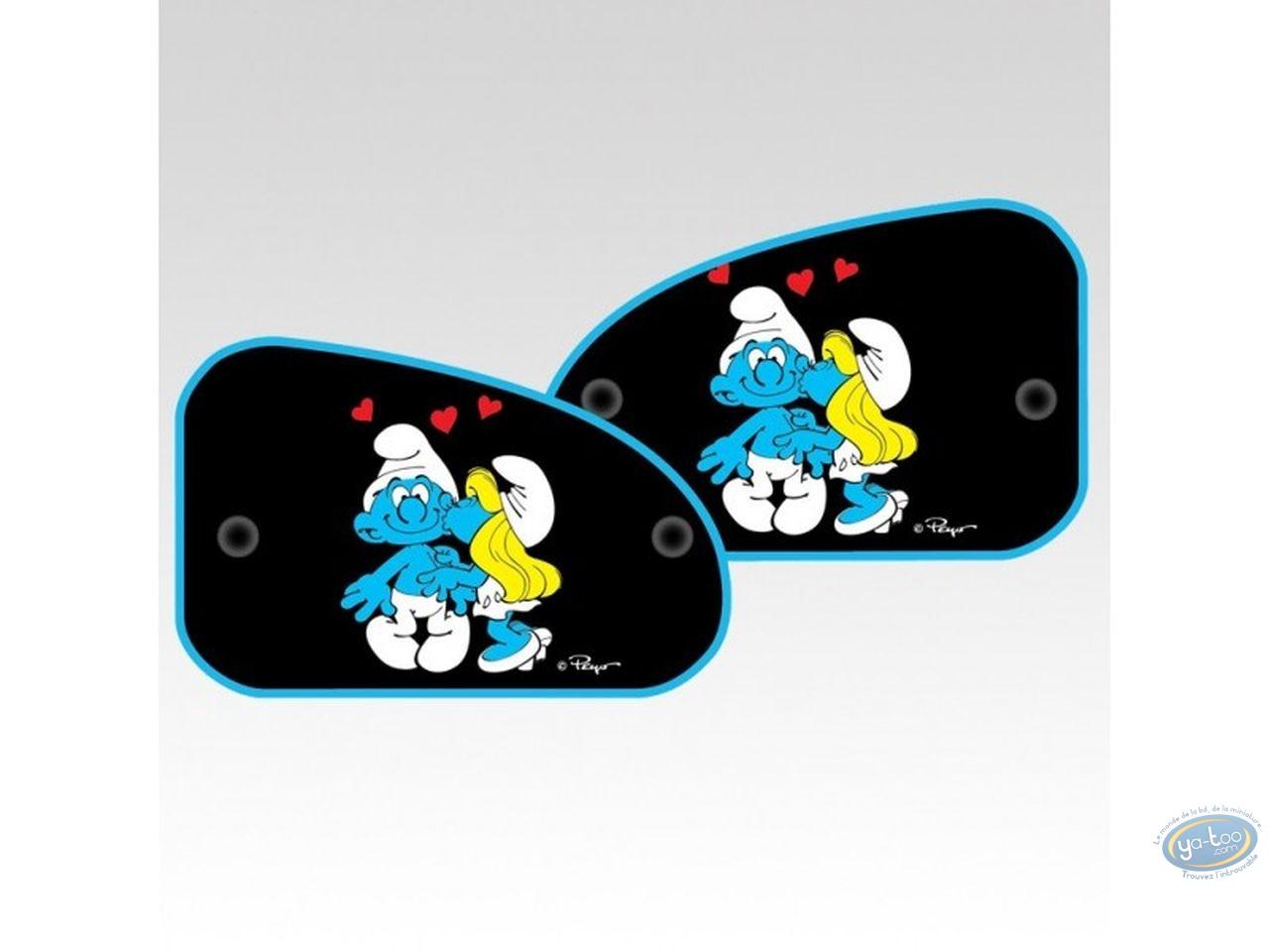 Auto accessory, Smurfs (The) : 2 sides sun visor XL, Smurfette kiss