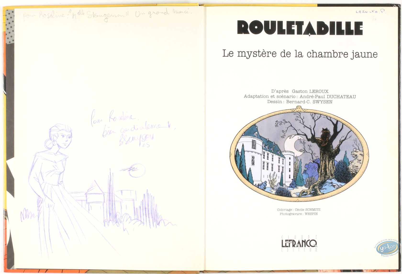 Deco Chambre Maryline Monroe listed european comic books, joseph rouletabille : le mystère de la chambre  jaune + autograph