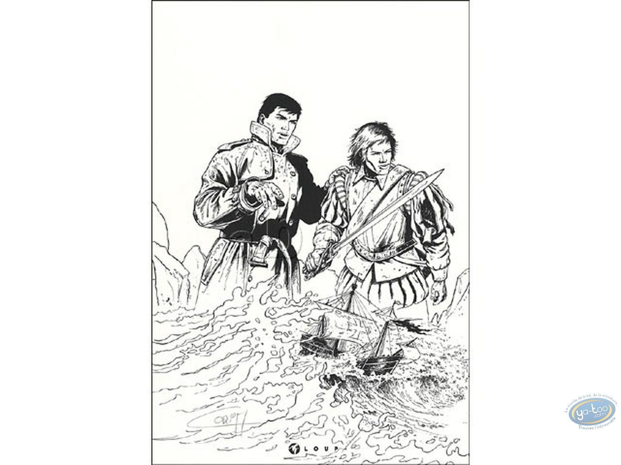 Bookplate Serigraph, Bob Morane : Coria, Bob Morane & Vega (n&b)