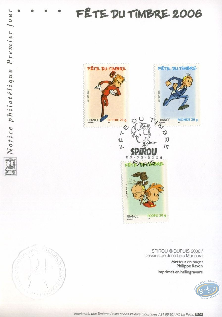 Stamp, Spirou and Fantasio : card 1st day 3 stamps