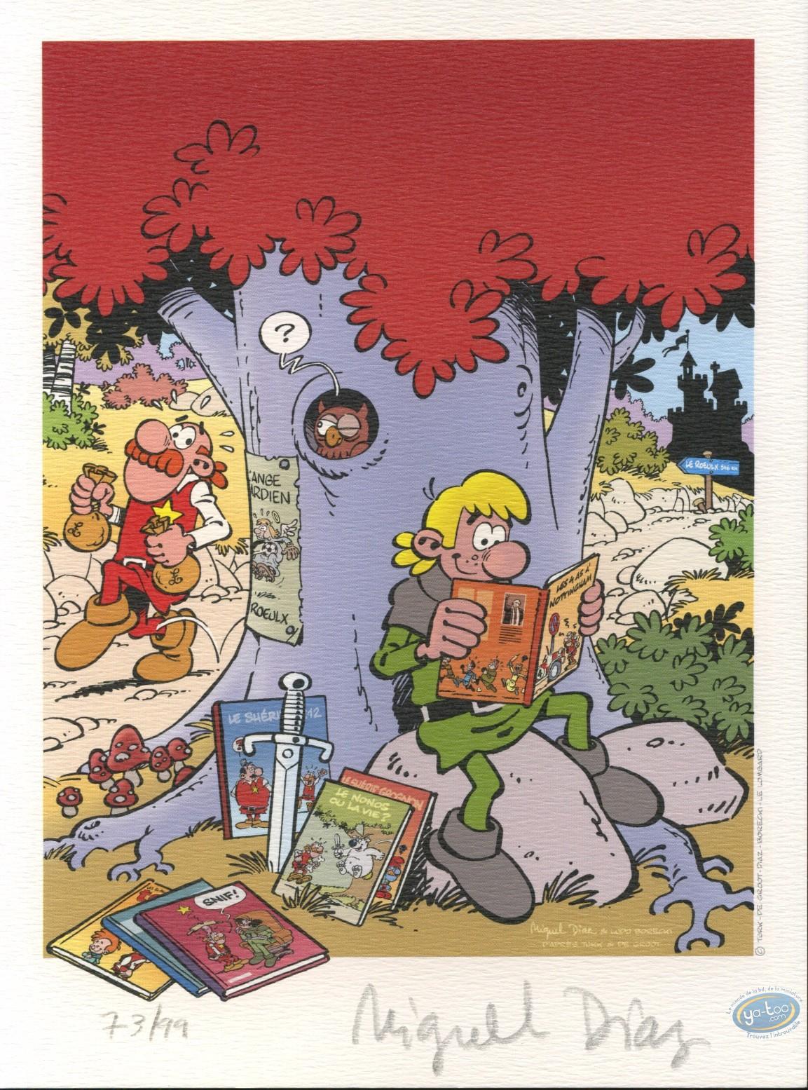 Bookplate Offset, Robin Dubois : Robin reading comic books