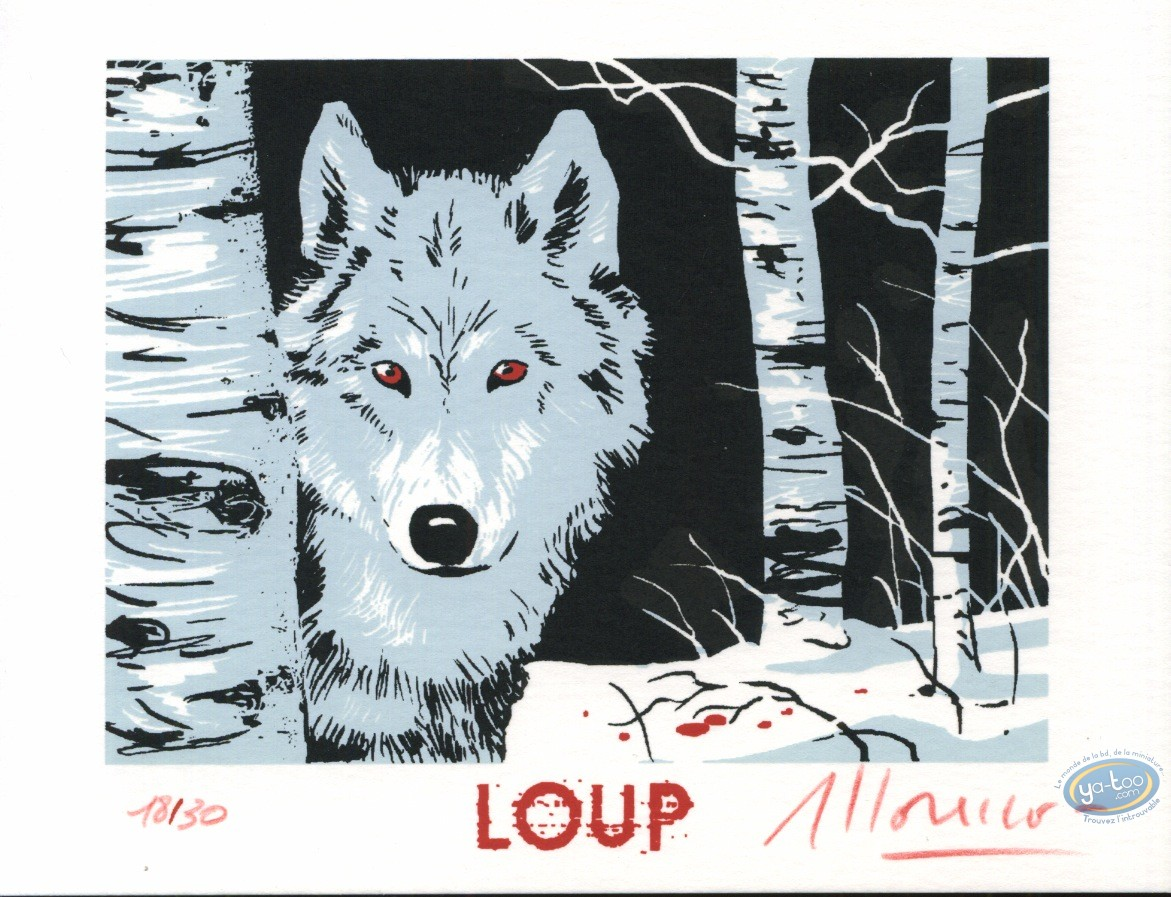Bookplate Serigraph, Loup : Wolf in the forest
