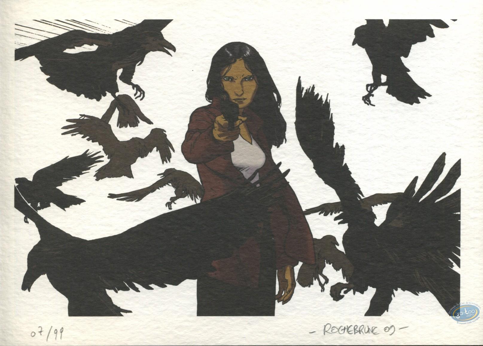 Bookplate Offset, Chemins de Vadstena (les) : Woman with a gun & birds