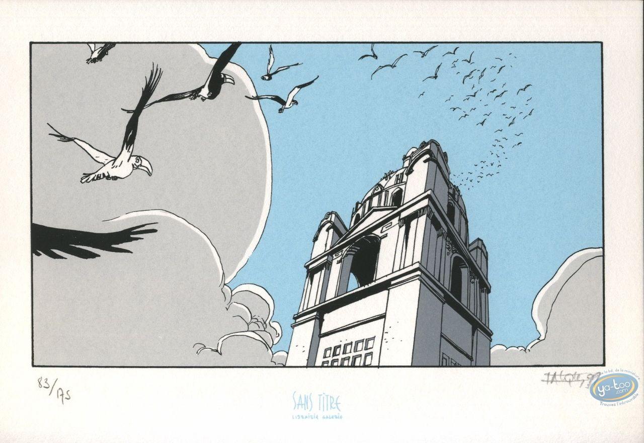 Bookplate Serigraph, Fond du Monde (Le) : Birds in flight