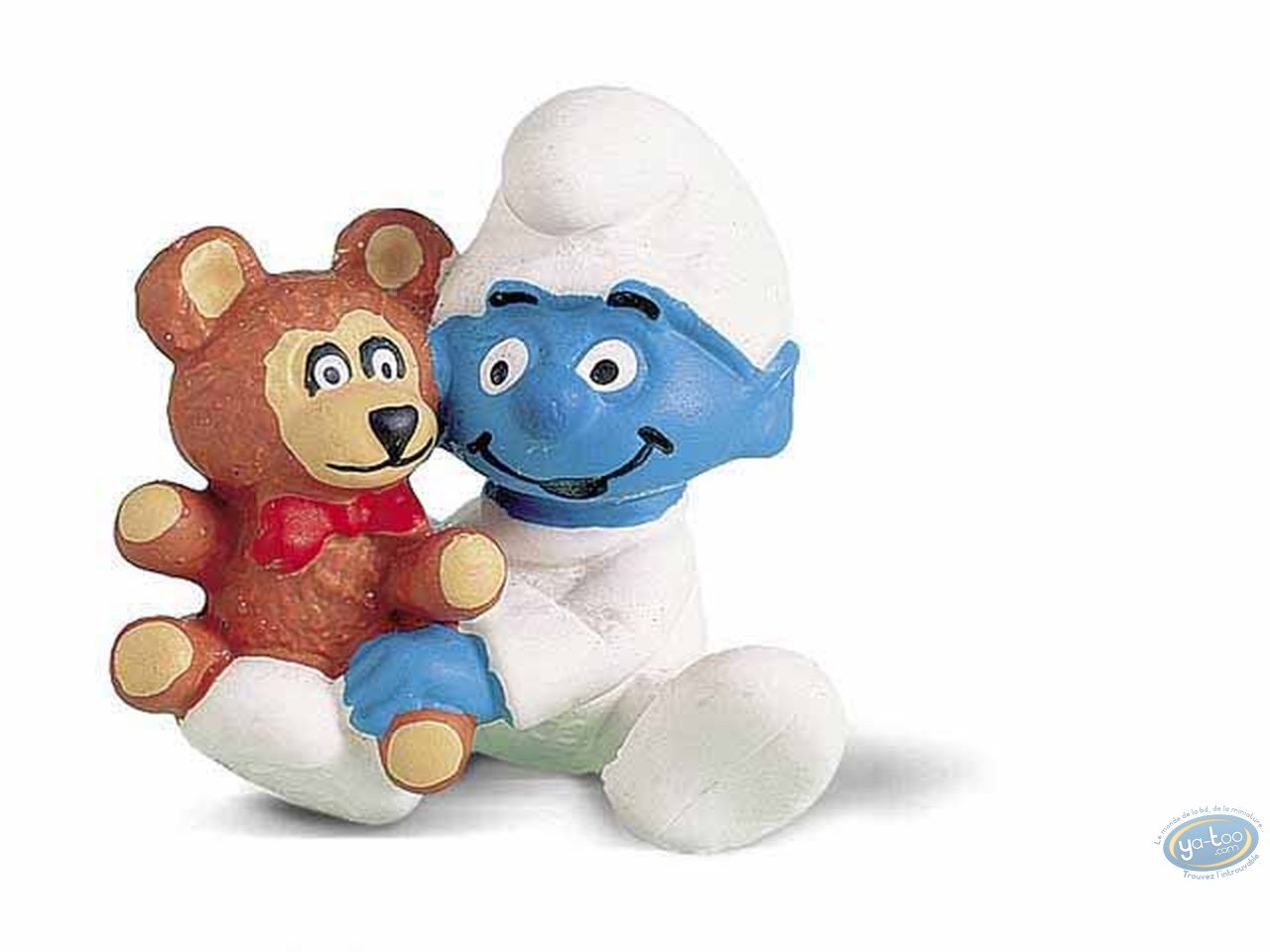Plastic Figurine, Smurfs (The) : Baby Smurf with his teddy bear
